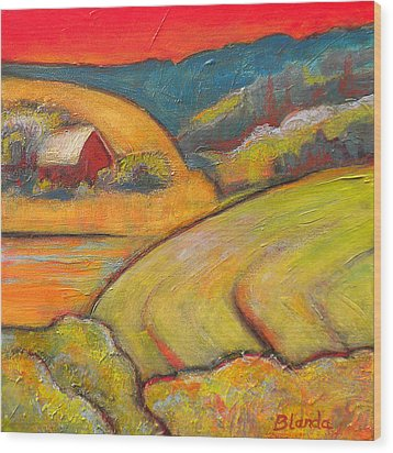 Landscape Art Orange Sky Farm Wood Print by Blenda Studio