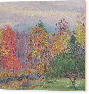 Landscape At Hancock In New Hampshire Wood Print by Lilla Cabot Perry