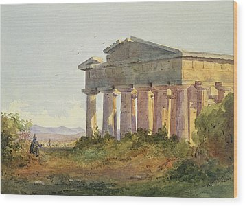 Landscape At Paestum Wood Print by Arthur Glennie
