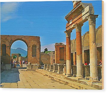 Landscape At Pompeii Italy Ruins Wood Print by John Malone