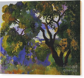 Landscape At St Tropez  2 Wood Print by Pg Reproductions
