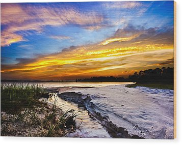 Wood Print featuring the photograph Landscape Beach Sunset-golden Sun Rays-stream To The Sea by Eszra