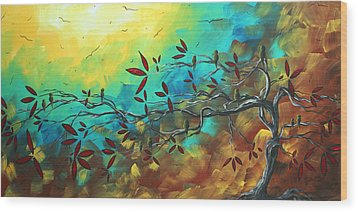 Landscape Bird Original Painting Family Time By Madart Wood Print by Megan Duncanson