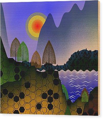 Landscape Wood Print by GuoJun Pan