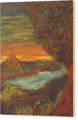 Wood Print featuring the painting Landscape In Portrait by Martin Blakeley