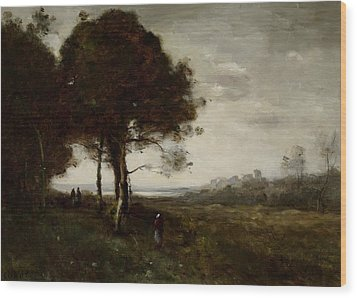 Landscape Wood Print by Jean Baptiste Camille Corot