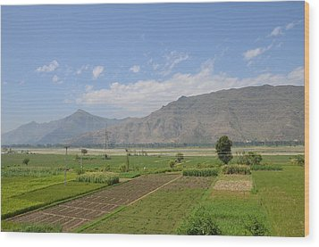 Wood Print featuring the photograph Landscape Of Mountains Sky And Fields Swat Valley Pakistan by Imran Ahmed