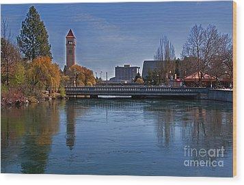 Landscape Of Spokane Wa Riverfront Park  Wood Print by Valerie Garner