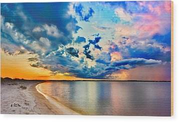 Wood Print featuring the photograph Landscape Panorama-blue Purple Pink Cloud Sunset Reflection by Eszra Tanner