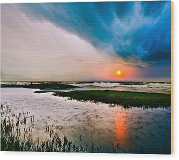 Wood Print featuring the photograph Landscape-storm At Sea Sunset-rain Ripples-blue Clouds by Eszra