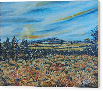 Landscape Sunflowers Field  Wood Print by Drinka Mercep