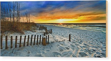 Landscape Sunrise Panorama Wood Print by Eszra Tanner