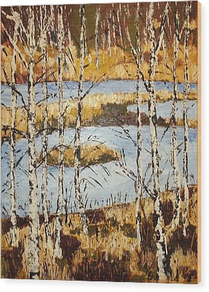 Landscape With Birches Wood Print