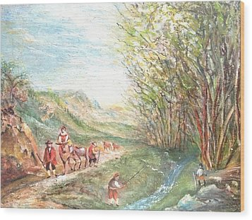 Wood Print featuring the painting Landscape With Fisherman by Egidio Graziani
