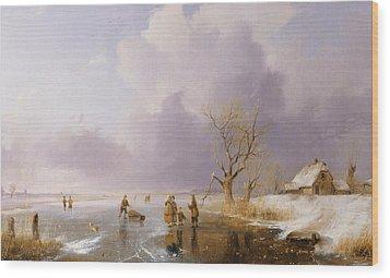 Landscape With Frozen Canal Wood Print by Remigius van Haanen