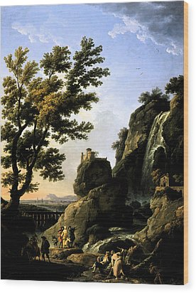 Landscape With Waterfall Wood Print by Joseph Vernet