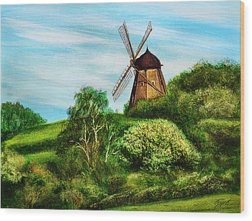 Landscape With Windmill Wood Print by Gynt Art
