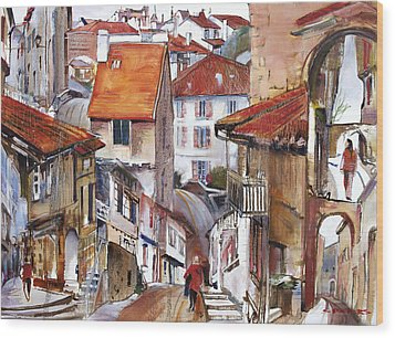 Laneways Of Nerac Wood Print by Shirley  Peters