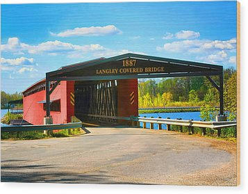 Langley Covered Bridge - Michigan Wood Print by Pat Cook