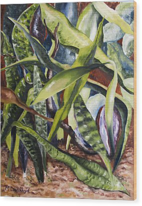 Languid Cactii Wood Print by Lisa Boyd