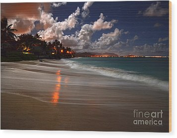 Lanikai Beach At Night View Of Kailua Bay  Wood Print