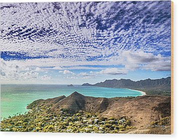 Lanikai Beach Cirrocumulus Clouds Wood Print