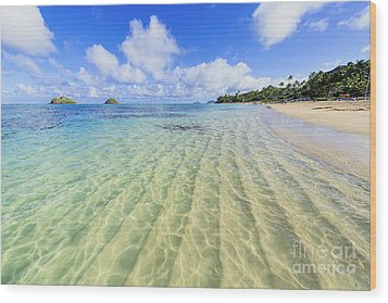 Lanikai Beach Mid Day Ripples In The Sand Wood Print