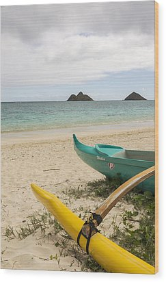 Lanikai Beach Outrigger 2 - Oahu Hawaii Wood Print by Brian Harig