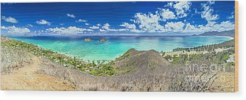Lanikai Beach Panorama Wood Print
