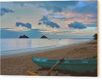 Lanikai Beach Sunrise 6 - Kailua Oahu Hawaii Wood Print by Brian Harig