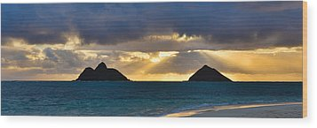 Lanikai Beach Sunrise Panorama 2 - Kailua Oahu Hawaii Wood Print by Brian Harig