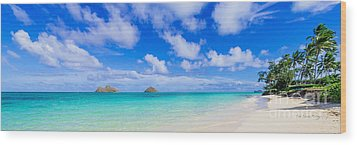 Lanikai Beach Tranquility 3 To 1 Aspect Ratio Wood Print