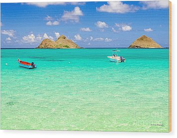 Wood Print featuring the photograph Lanikai Beach Two Boats And Two Mokes by Aloha Art