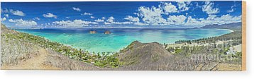 Lanikai Bellows And Waimanalo Beaches Panorama Wood Print