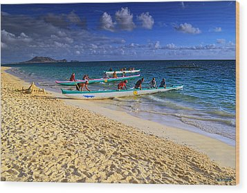 Wood Print featuring the photograph Lanikai Catamarans In The Morning by Aloha Art