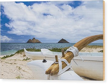 Wood Print featuring the photograph Lanikai Outrigger 1 by Leigh Anne Meeks