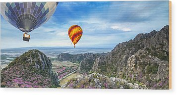 Lanscape Of Mountain And Balloon Wood Print by Anek Suwannaphoom