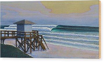 Lantana Lifeguard Stand Wood Print by Nathan Ledyard