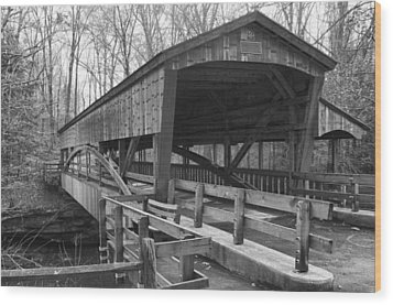 Lanterman Falls Covered Bridge Wood Print by Guy Whiteley