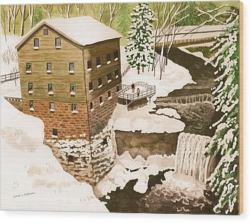 Lantermans Mill In Winter - Mill Creek Park Wood Print