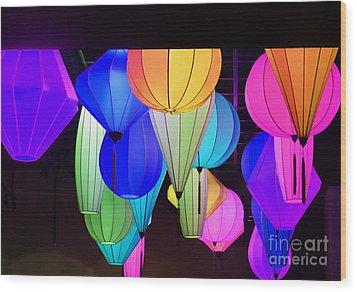Lanterns Wood Print by Marguerita Tan