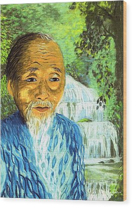 Lao Tzu Wood Print by Jane Small