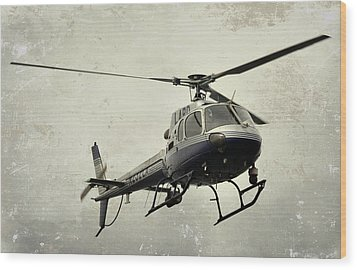 Lapd Helicopter Wood Print by Fraida Gutovich