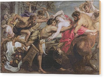 Lapiths And Centaurs Oil On Canvas Wood Print by Peter Paul Rubens