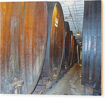 Large Barrels At Korbel Winery In Russian River Valley-ca Wood Print by Ruth Hager