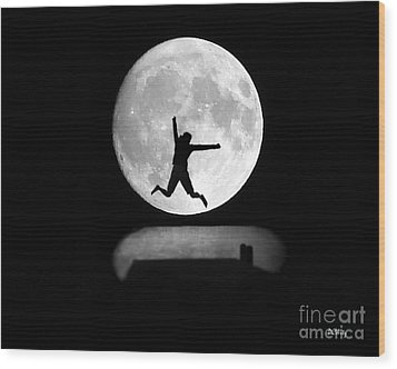 Large Leap For Mankind Wood Print