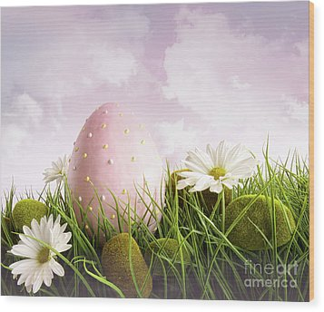 Large Pink Easter With Flowers In Tall Grass Wood Print by Sandra Cunningham