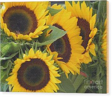 Large Sunflowers Wood Print by Chrisann Ellis