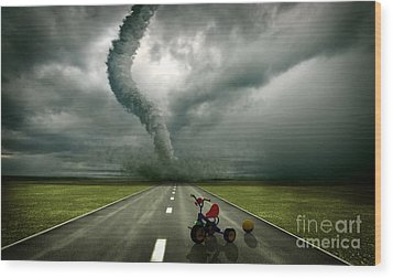 Large Tornado Wood Print by Boon Mee