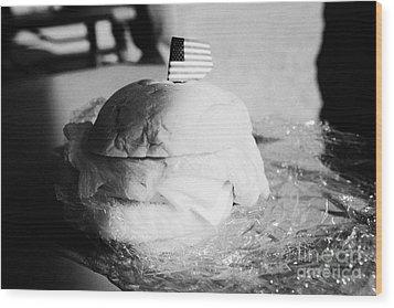 Large Turkey Salad Sandwich Wrapped In Cling Film Usa Wood Print by Joe Fox
